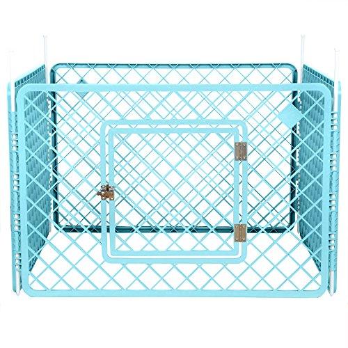 Iris Ohyama, parque para perros / jaula exterior / recinto / perrera 4 vallas - Pet Circle - H-604, plástico, azul turquesa, 6.3 kg, 90 x 90 x 60 cm