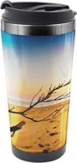 Ambesonne Scenery Travel Mug, Sunrise at a Sea Shore, Steel Thermal Cup, 16 oz, Blue and Sand Brown
