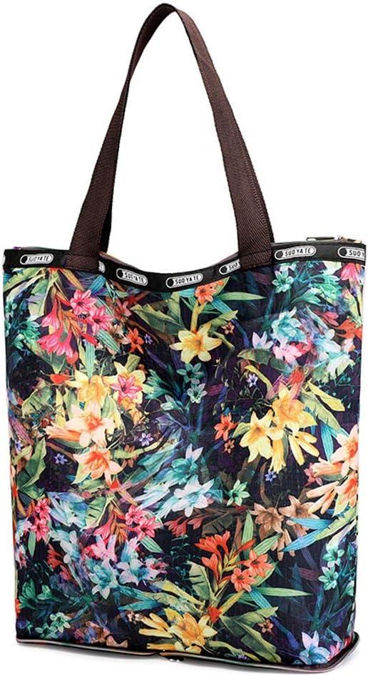 E Swyss Womens Floral Shopping Tote Handbags Casual Shoulder Work Bag Folding Bag
