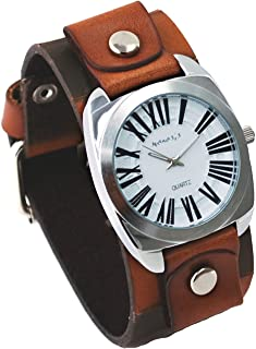 Nemesis #KCK098W Men's Wide Checker Brown Leather Cuff Band White Dial Watch