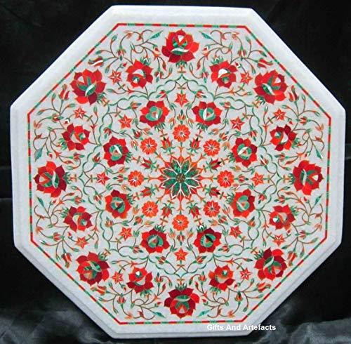 Cadeaus en artefacten Octagon wit marmer Patio salontafel Top met behulp van rode jaspis halfedelstenen ingelegd werk bloemrijke kunst elegante look Patio Side tafel, 16 inch