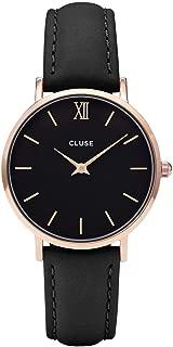 Cluse Women's Minuit 33mm Black Leather Band Metal Case Quartz Analog Watch CL30022