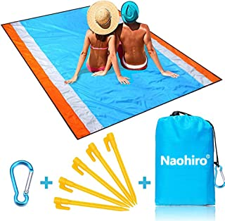 "Naohiro Sand Free Beach Blanket,Extra Large 79"" X 82"" for 4-7 Persons Beach Mat.Outdoor Picnic Mat for Travel, Camping, Hiking and Music Festivals-Lightweight Quick Drying Heat Resistant"