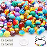 790pcs 8mm Acrylic Beads for Jewelry Making, Multi Color Loose Glass Beads in Flower Patterns,Chakra Beads,Lava Beads with Spacer Beads and Elastic String for Adults Bracelets Jewelry Making Supplies