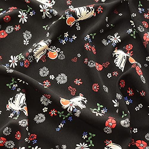 Tela decorativa por metros de chifón de terciopelo lavado, estampado de flores negras, 0,5 m