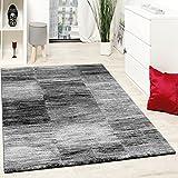 Paco Home Designer Teppich Modern Wohnzimmer Teppiche Kurzflor Karo Meliert Grau Schwarz, Grösse:70x140 cm