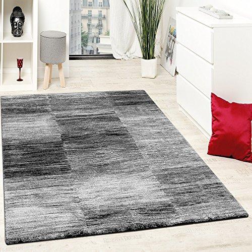 Paco Home Designer Teppich Modern Wohnzimmer Teppiche Kurzflor Karo Meliert Grau Schwarz, Grösse:60x100 cm