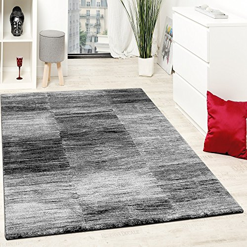 Paco Home Designer Teppich Modern Wohnzimmer Teppiche Kurzflor Karo Meliert Grau Schwarz, Grösse:160x220 cm