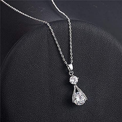 PPQKKYD Necklace New Modern Exquisite Ladies Pendant Silver Crystal Zircon Necklace Pendant Collar Necklace Ladies Jewelry Gift Drop s