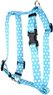 "Yellow Dog Design New Blue Polka Dot Roman Style""H"" Dog Harness, X-Small-3/8"" Wide fits Chest of 8 to 14"""