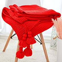 Soft Knitted Thread Blanket Throw with Tassel Plaid Striped Sofa Towel Blankets for Travel Airplane Outdoor 130x160cm Anti...