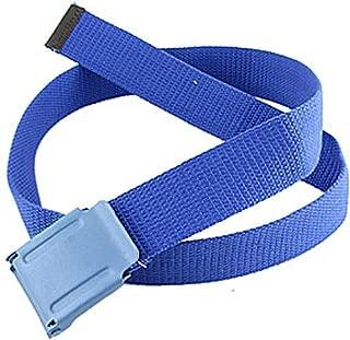 uxcell Woman Metal Rectangle Buckle Cotton Blent Nylon Plaid Weave Belt Blue