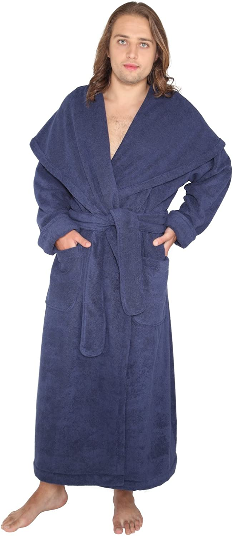 Arus Men's Big & Tall Long Monk Robe Hooded Full Length Turkish Cotton Bathrobe