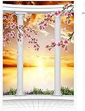 3D Door Sticker Decor Sunrise Landscape Flower Roman Column Creative Wall Art DIY Mural Bedroom Poster PVC Waterproof Imitation Interior Doors Home Decal,95x210cm