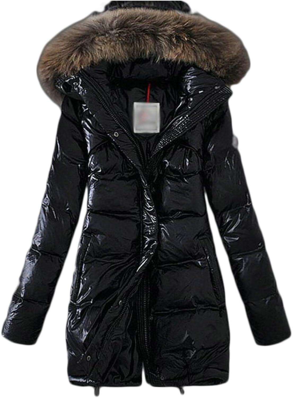 Desolateness Women's Casual Faux Fur Collar Hooded Packable Down Coat Lightweight Down Outwear
