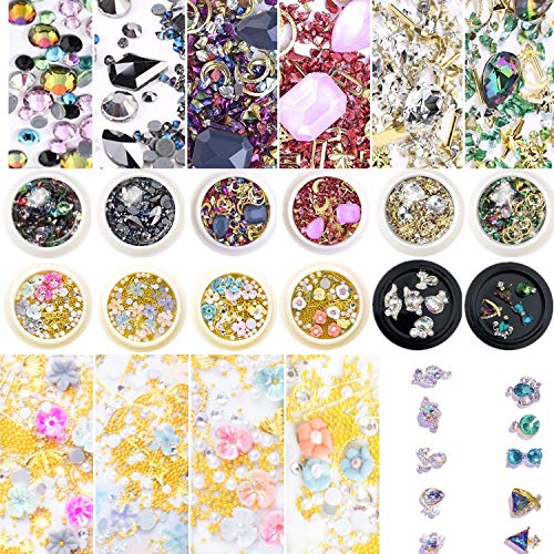 Umillars 12 Boxes Mixed Element Nail Art Rhinestones Decorations Set,3D Nail Studs Crystals Gems DIY Design Manicure Diamonds Jewels Accessories