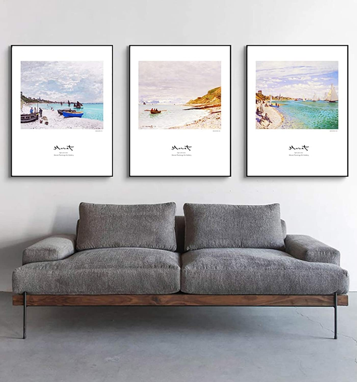 3 Piece Wall Art Painting, Natural Scenery Decorative Paintings, for Sofas, Seascapes, Wall Paintings, Modern Minimalist Living Room, Triptychral Painting,E,40X60CM