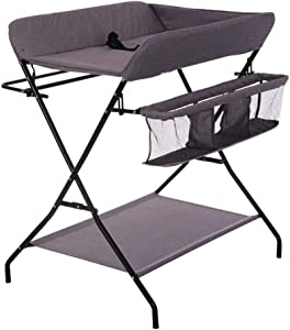 Foldable Baby Changing Diaper Table Bathing Table Storage Rack Dressing Massage Table Baby Care Station Nursery Home Replacement Station  Color Gray