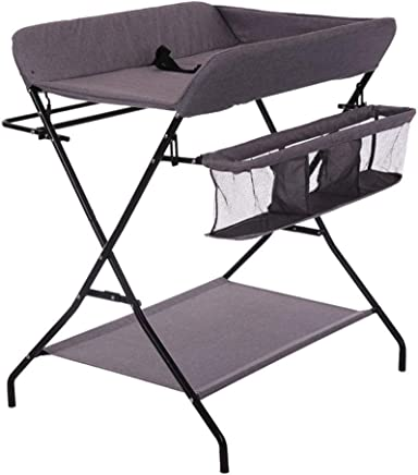LGZW Folding Baby Changing Table  Storage Rack  Baby Dressing Table  Portable Diaper Table  Baby Bath Table  Color Gray