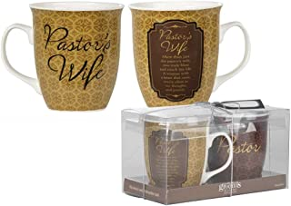Pastor & Pastor's Wife Filigree Medallion 16 Ounce Stoneware Coffee Mugs Gift Boxed Set of 2