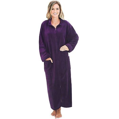 MISS ELAINE Full Length Robe Size Large Soft Polka-Dot Fleece Inside /& Out Zip F