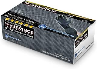 Diamond Gloves 6.3 mil Black Advance Nitrile Examination Powder-Free Gloves, Heavy Duty, Large, 100 Count-Size Medium (NEPF63-M)