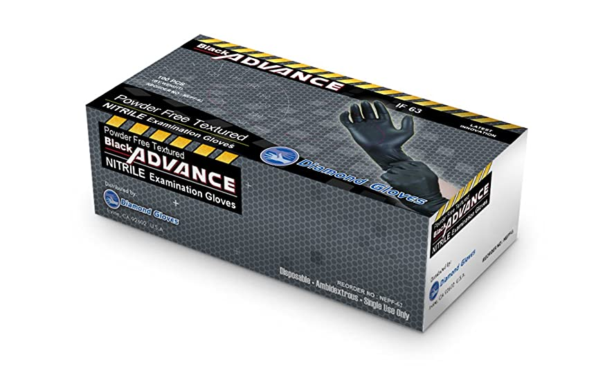 負アラブ死んでいるDiamond Gloves Black Advance Nitrile Examination Powder-Free Gloves, 6.3 mil, Heavy Duty, X-Large, 100 Count [並行輸入品]