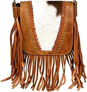 Handcrafted Leather 4 in 1 Bundle Clutch Crossbody Biker Bag w Fringe & Coin Key Fob