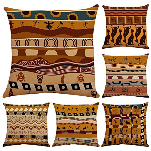 Thmyo Pillow Covers,Polyester Cushion Covers For Sofa Couch Bed 18 X 18 Inch (Cover Only,No Insert) (6 Pack Indians Style)