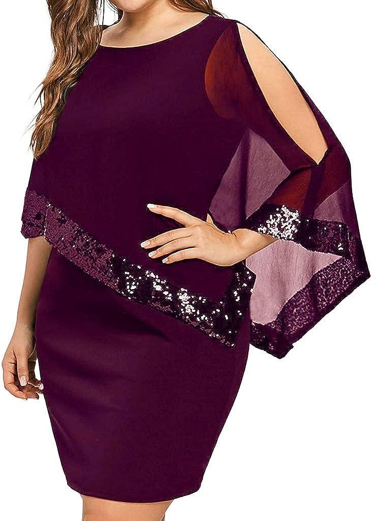 iQKA Women Bodycon Dress Plus Size Cold Shoulder Asymmetric Chiffon Sequins Mini Dress Vestidos