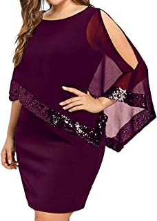 10846a51aed9a Womens Chiffon Cocktail Sequins Cape Overlay Plus Size Bodycon Party  Cocktail Pencil Dress Cold Shoulder DressS