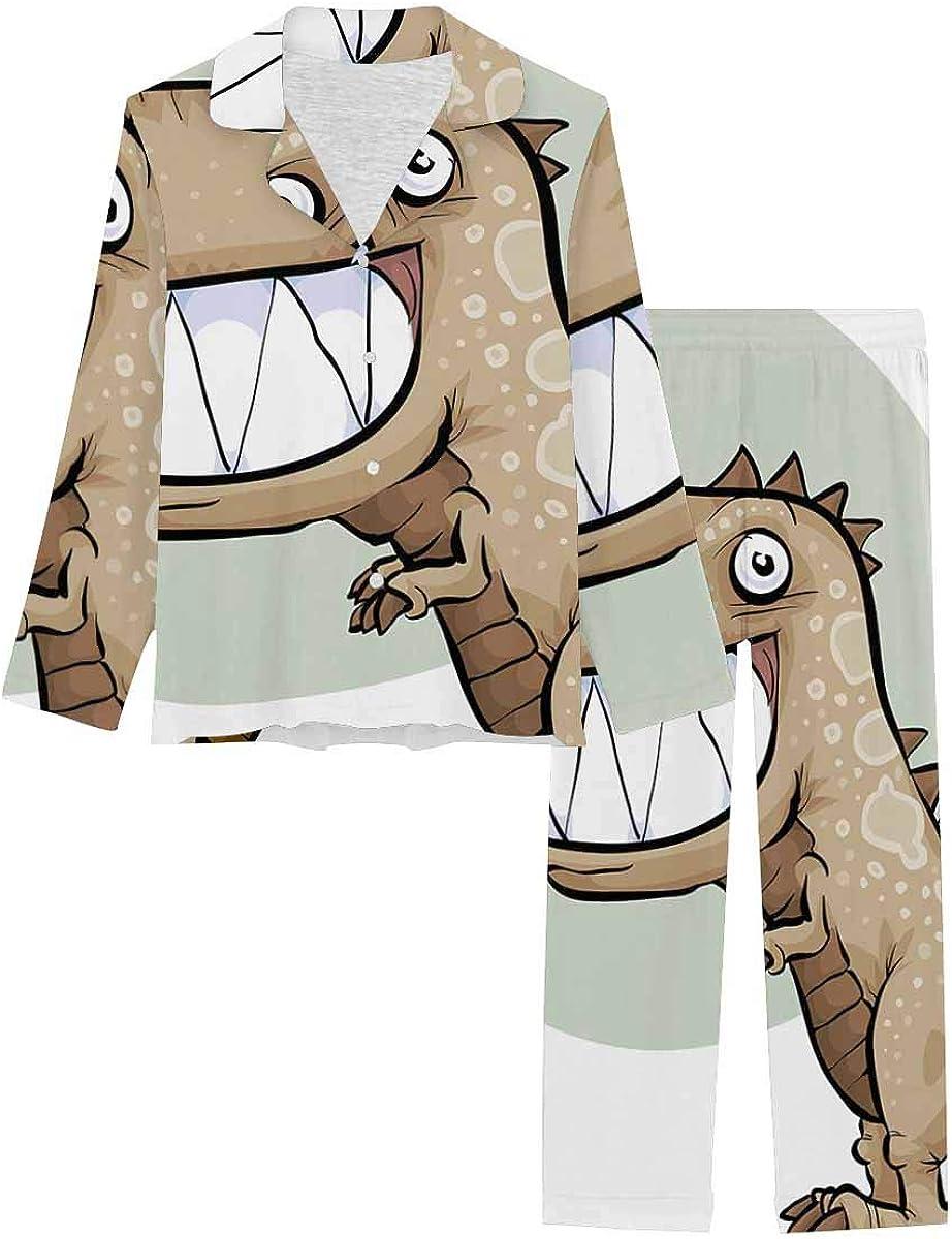 InterestPrint Soft Nightwear Loungewear with Long Pants Pajamas Set a Happy, Cartoon Dinosaur with a Big Smile