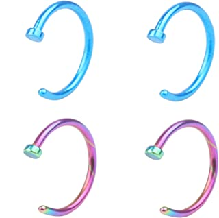 RJ Surgical Stainless Unisex 18G Nose Rings Hoop Nose Piercing Body Jewelry 8mm 4-6pcs