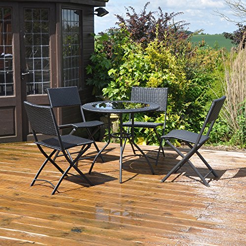Kingfisher FSRSET Rattan Effect Table and 4 Chairs Garden Patio Set - Black