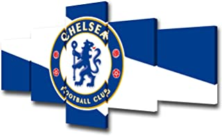 TUMOVO 5 Pieces Canvas Art Background Flag of Chelsea Football Club Color Wallpaper Picture Prints on Canvas Stretched and Framed Ready to Hang,Soccer Sports Wall Art for Boys Room - 50