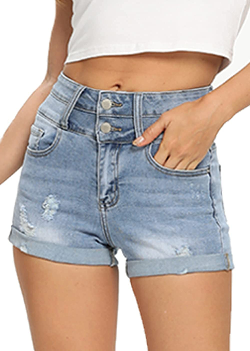 Women's Casual Mid Rise Denim Shorts Stretchy Ripped Folded Hem Jean Short (Light Blue # 4, 10)