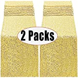 FECEDY 2packs 12 x 108inch Glitter Gold Sequin Table Runner for Birthday Wedding Engagement Bridal Shower Baby Shower Bachelorette Holiday Celebration Party Decorations