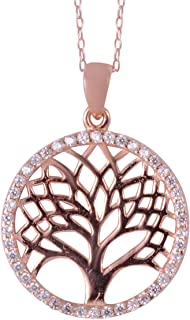 Rose Gold Plated 925 Sterling Silver Pendant White Crystal Jewelry for Women