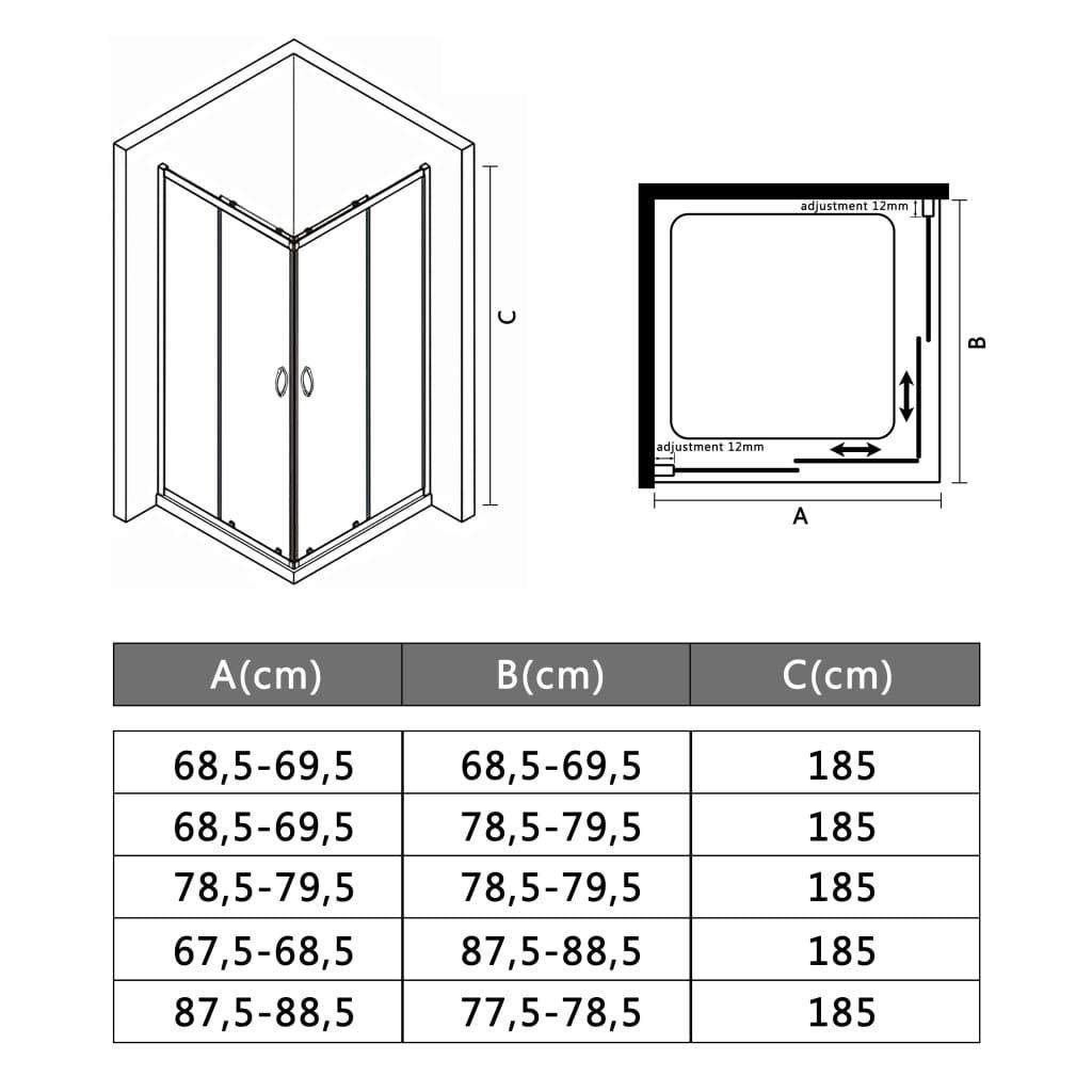 mewmewcat Mampara de Ducha con Vidrio de Seguridad 80x70x185 cm ...