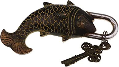 SM SunniMix Vintage visvorm, klein bagageslot, reisslot, kofferslot, hangslot met sleutel, brons