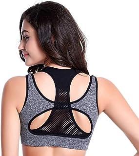 QAKVI Women's and Girl's Gym Push up Corss X Back Compression Sports Bra - Free Size Pink