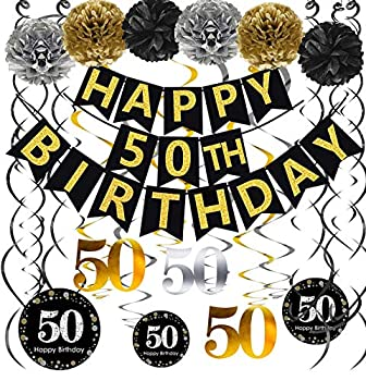 Famoby Black & Gold Glittery Happy 50th Birthday Banner,Poms,Sparkling 50 Hanging Swirls Kit for 50th Birthday Party 50th Anniversary Decorations Supplies