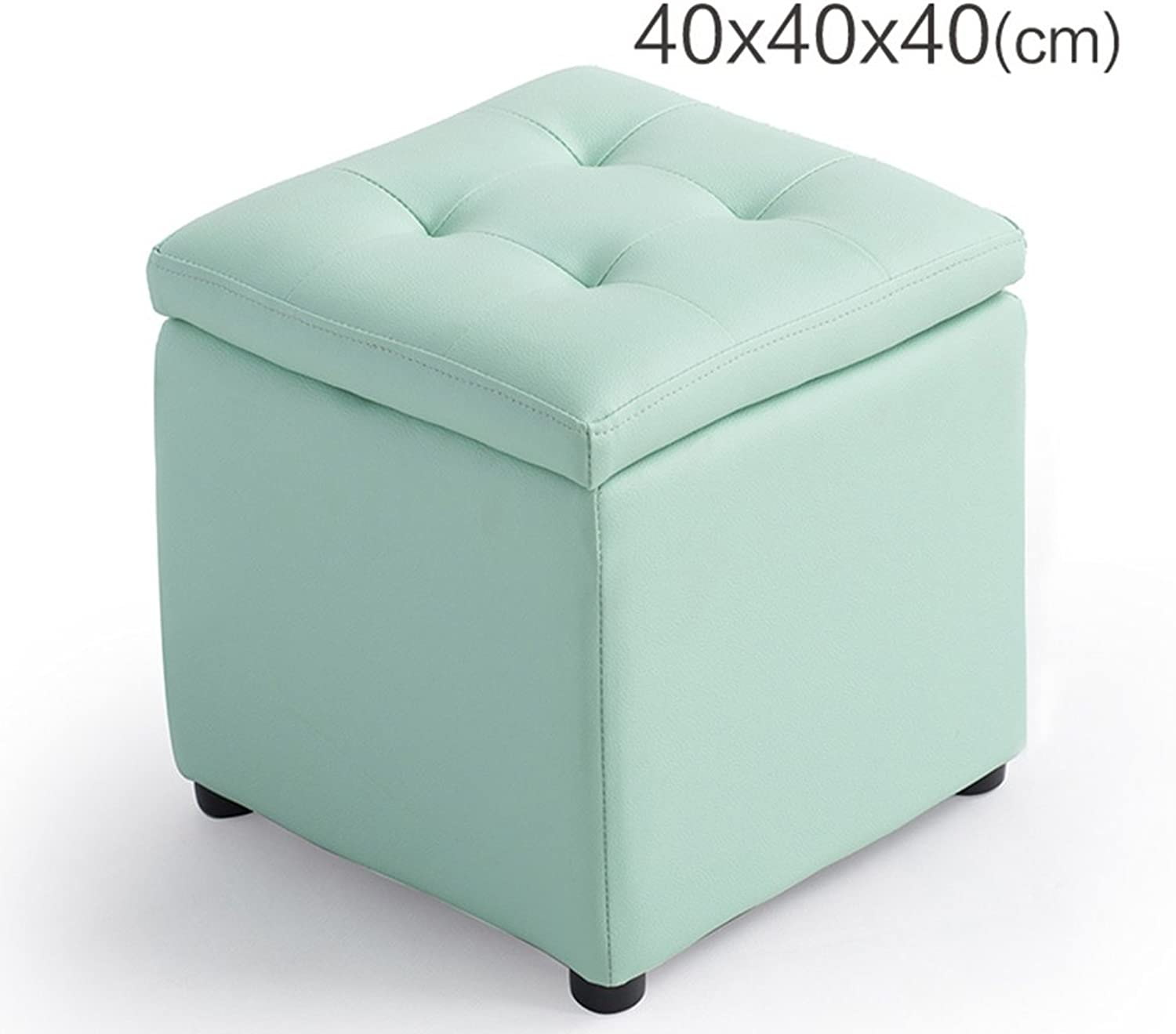 Stool Storage Stool Change shoes Bench Leather Stool Sofa Stool Storage Stool Dressing Stool Low Stool shoes Stool Chairs & Seats (color   bluee, Size   40  40  40cm)
