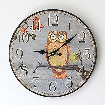 ZQ Unique design style Mute the OWL pattern wood wall clock
