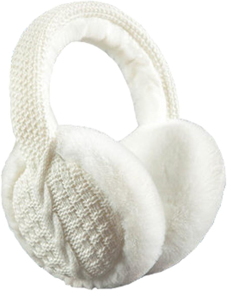 Outdoor Soft Warm Knit Furry Earmuffs Winter Ear Muffs for Women Men, WHITE