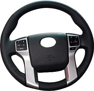 XUJI Black Genuine Leather Custom Steering Wheel Covers for 2012-2019 Toyota Tacoma / 2014-2019 Toyota Tundra / 2010 2011 2012 2013 2014-2019 Toyota 4Runner / 2014-2019 Toyota Sequoia Accessories