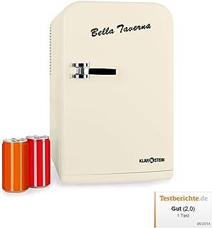 Klarstein Bella Taverna - Mini nevera, 15L, Peso ligero, asa extensible y base, Múltiples usos, 1 estante extraíble, 2 compartimentos en la puerta, Ruido mínimo, Ventilador integrado, Crema