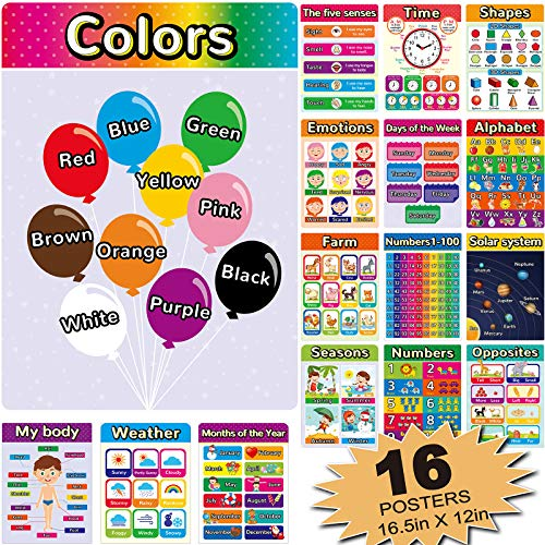 16 Educational Posters for Classroom Decor & Kindergarten Home School Supplies Baby to 3rd Grade Kids, Laminated PreK Learning Chart Materials – Numbers, Colors, Time,Alphabet, Shapes(16 Pieces)