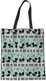 HUGS IDEA Cat Music Print Tote Bag Women's Fashion H