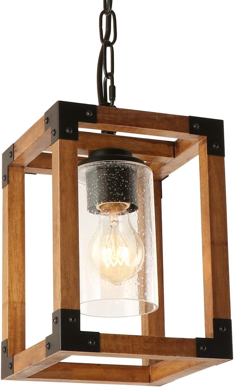New products, world's highest quality popular! Giluta Square Wood Pendant Lighting Cheap Height Adjustable 1 Hanging